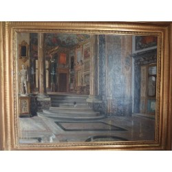 Old master painting on canvas, Palace interior, Carl Wurzinger