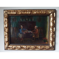 Old master painting on wood panel, Two men, H. Ewald